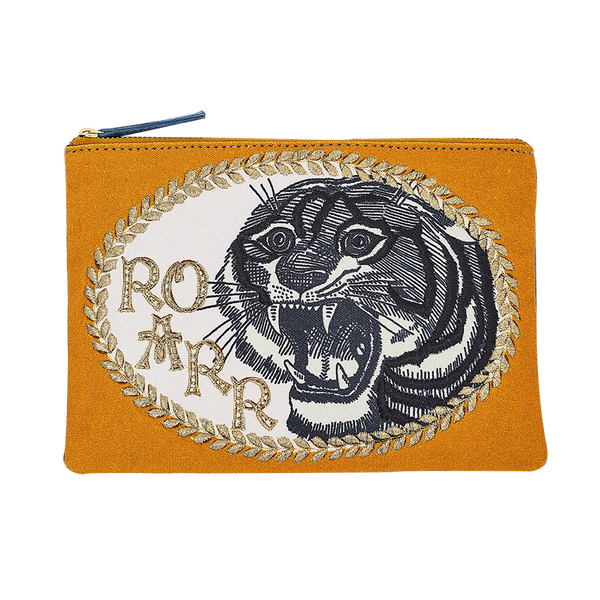 Inouïtoosh Roar Fierce Lion Mustard Embroidered Cotton Pouch with Metallic Yarns and Velvet Cord Back