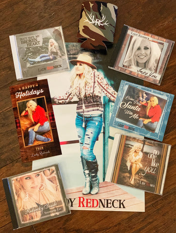 ALL 5 LADY REDNECK CDS, POSTER, KOOZIE, AND CHRISTMAS CARD!