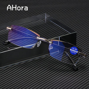 Frameless Anti Blue Light Blocking Rimless * Reading Glasses Women/Men Square *  Presbyopic Glasses Diopters +1.0 1.5 2 2.5 4.0