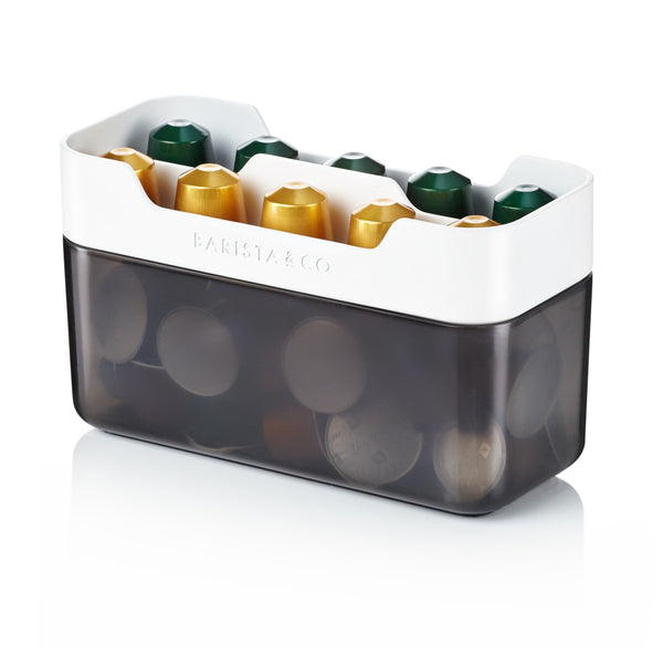 Barista & Co White & Charcoal Pod Caddy Coffee Capsule Holder