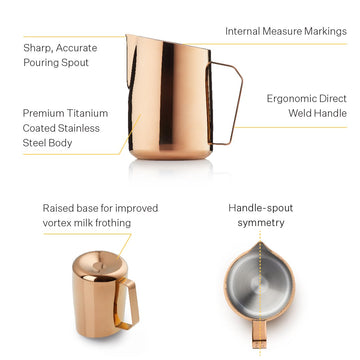 Barista & Co Rose Brass Dial In Milk Pitcher (600ml)