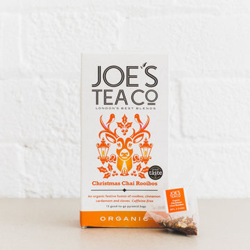 Joes Tea Co Christmas Chai Rooibos Herbal Tea (15 Pyramid Bags)