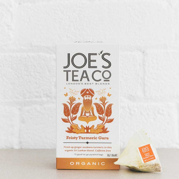 Joes Tea Co Feisty Turmeric Guru Herbal Tea (15 Pyramid Bags)