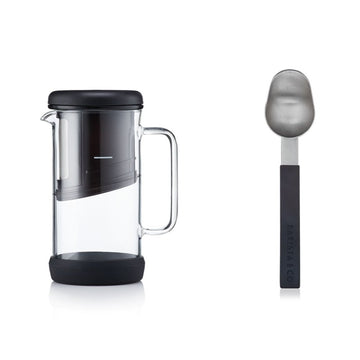 Barista & Co Black & Silver One Brew 4 in 1 Coffee and Tea Maker with Scoop Spoon