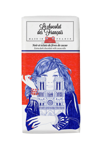 Le Chocolat Des Français Organic Dark Chocolate With Cocoa Nibs 80g Bar (71% Cocoa)