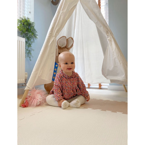 White and Light Beige Playmat Set