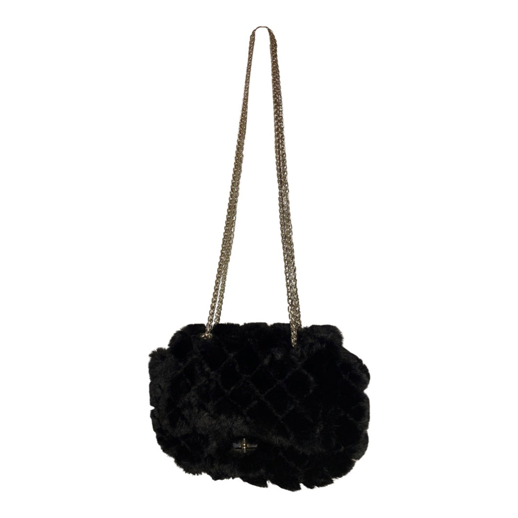 BLACK QUILTED FAUX FUR PURSE