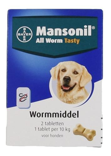 MANSONIL HOND ALL WORM TASTY TABLETTEN 2 ST