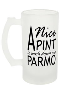 A Nice Pint Parmo Frosted Beer Glass 16oz