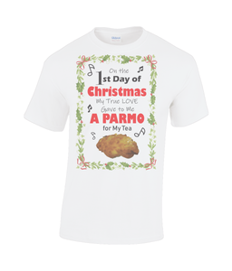 Christmas Parmo Heavy Cotton T-Shirt (with Holly Border)