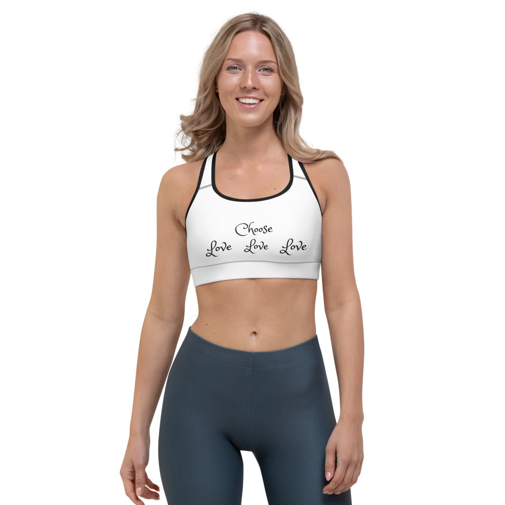 "Sports Bra, ""CHOOSE LOVE"" (on Front) Plus"