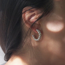 Load image into Gallery viewer, The Janus pearl hoops