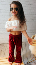 Load image into Gallery viewer, Too Cute Velvet Flare Pant - Burgundy