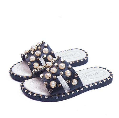 Pearl Studded Slide - Black