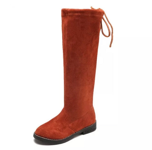 Faux Suede Knee High Boots - Cognac