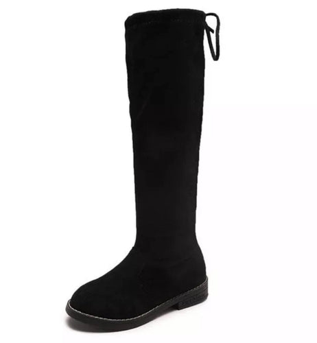Faux Suede Knee High Boots - Black