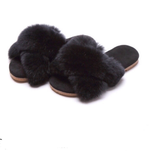 Fur Slippers - Black