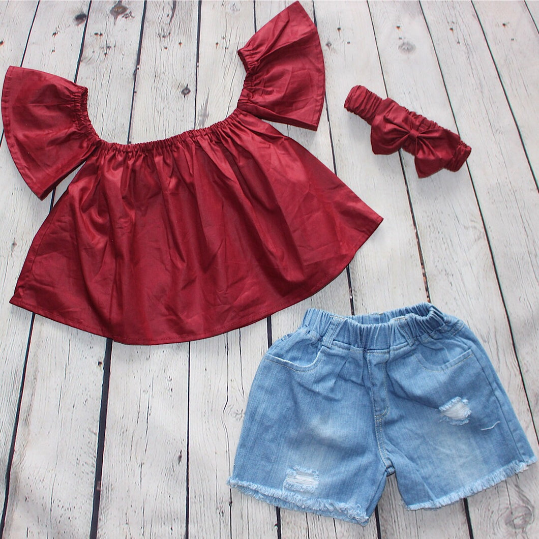 Play Date Denim Short Set - Burgundy