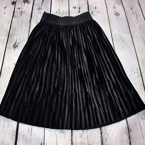 Sunday Chill Velvet Skirt - Black