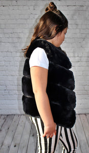 Malia Faux Fur Vest - Black