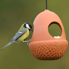 Terracotta Hanging Acorn Bird Feeder