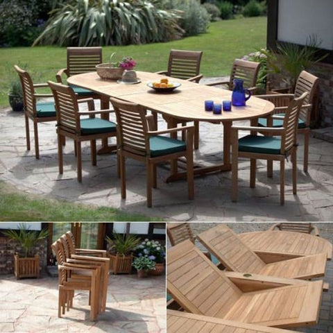 Deauville Solid Teak Large Outdoor Patio Dining Set - Teak Garden Furniture
