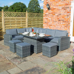 Garden Lover Luxury 6 Piece Rattan Dining Set - Grey Weave