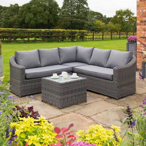 Garden Lover Luxury Corner Set - Grey Weave - All Weather Rattan Garden Furniture