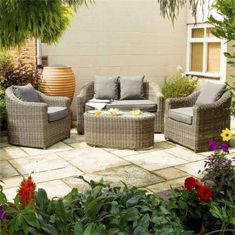Garden Lover Luxury Rattan Sofa Set - Natural Weave - All Weather Rattan Garden Furniture