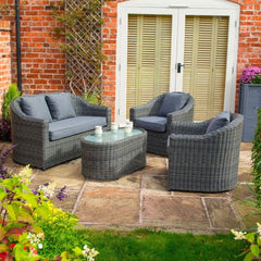 Garden Lover Luxury Rattan Sofa Set - Grey Weave