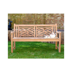 Oxford Cross Weave Back Teak Garden Bench 150cm