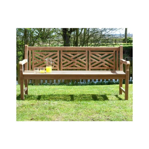 Oxford Cross Weave Back Teak Garden Bench 180cm - Garden Benches