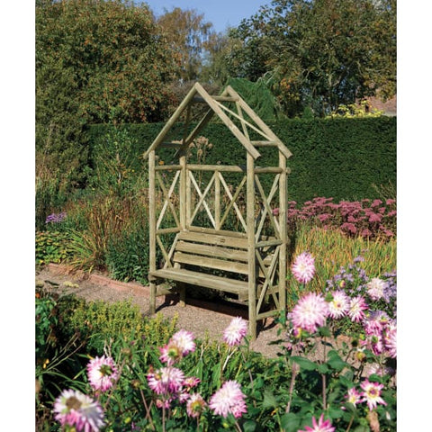 Rowlinson Rustic Seat - Garden Arbours