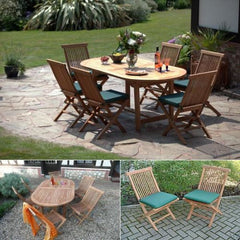 Solid Teak La Baule Oval Patio Set