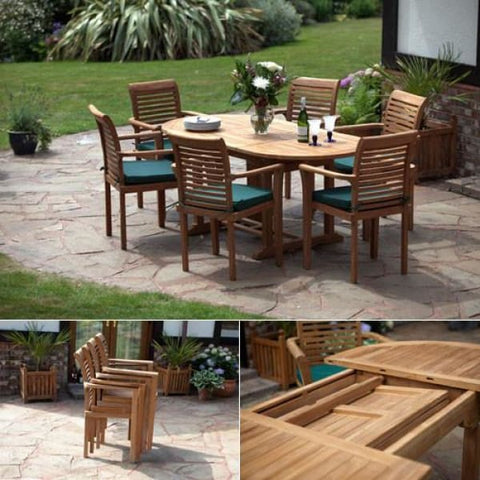 Solid Teak Paris Patio Set - Teak Garden Furniture