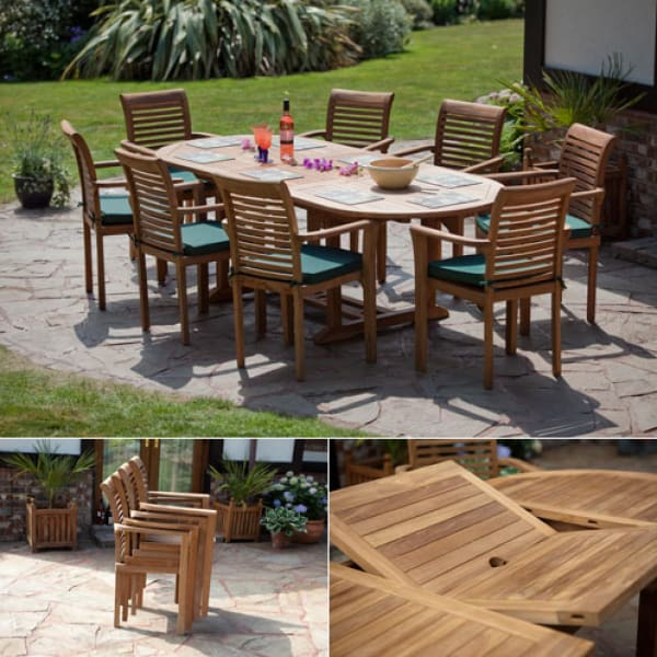 Solid Teak Provence Patio Dining Set Outstanding Value Garden