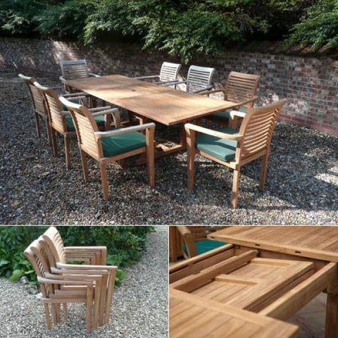 Solid Teak St Tropez Patio Set - Teak Garden Furniture