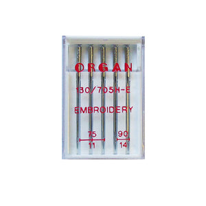 Embroidery sewing machine needle set