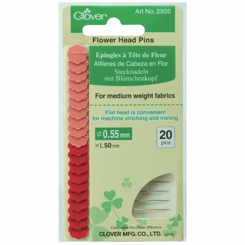 Clover Flower Head Pins - longer, sharp, durable! - for medium weight fabrics