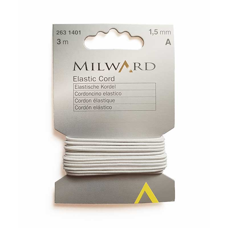 Milward Elastic Cord, 1.5mm, 3m, White