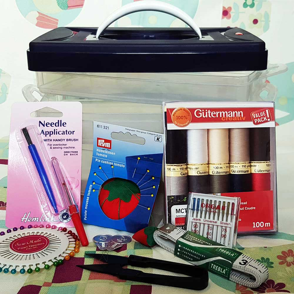 Sewing Stuff original Sewing Kit, Gütermann Sewing Thread, Thread Cutter, Pins, Pin Cushion, Needles, Tape Measure, Seam Ripper, Needle Threader, Needle Applicator & Brush, Prym Click Box