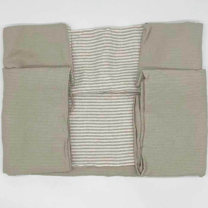 Linen Twin Duvet Cover (Dove/Natural Stripe)