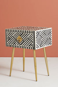 Bone Inlay Bedside Table Chevron Black & White