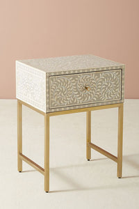 Bone Inlay Bedside Table Floral Grey