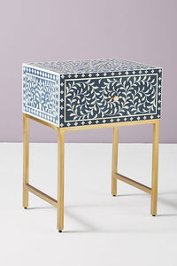 Bone Inlay Bedside Table Floral Navy