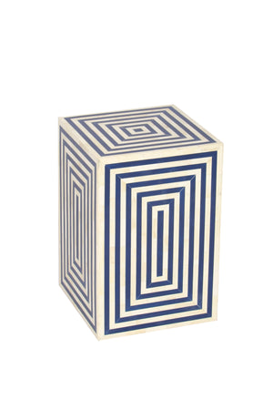 Bone Inlay Ivory & Blue Colour Handcrafted Side Table