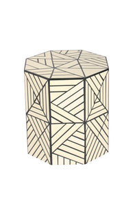 Resin Inlay Geometric Monochrome Handcrafted Side Table