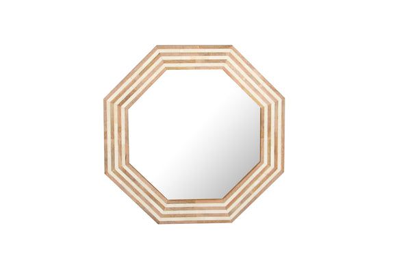 Mango Wood & Natural Bone Inlay Octagonal Wall Mirror