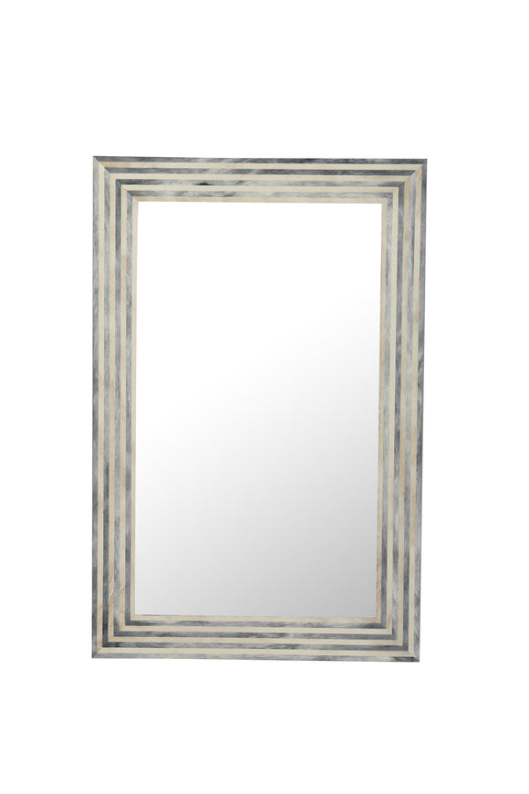 Resin Inlay Grey & Ivory Wall Mirror