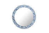 Natural Bone Inlay Patterned Blue Wall Mirror